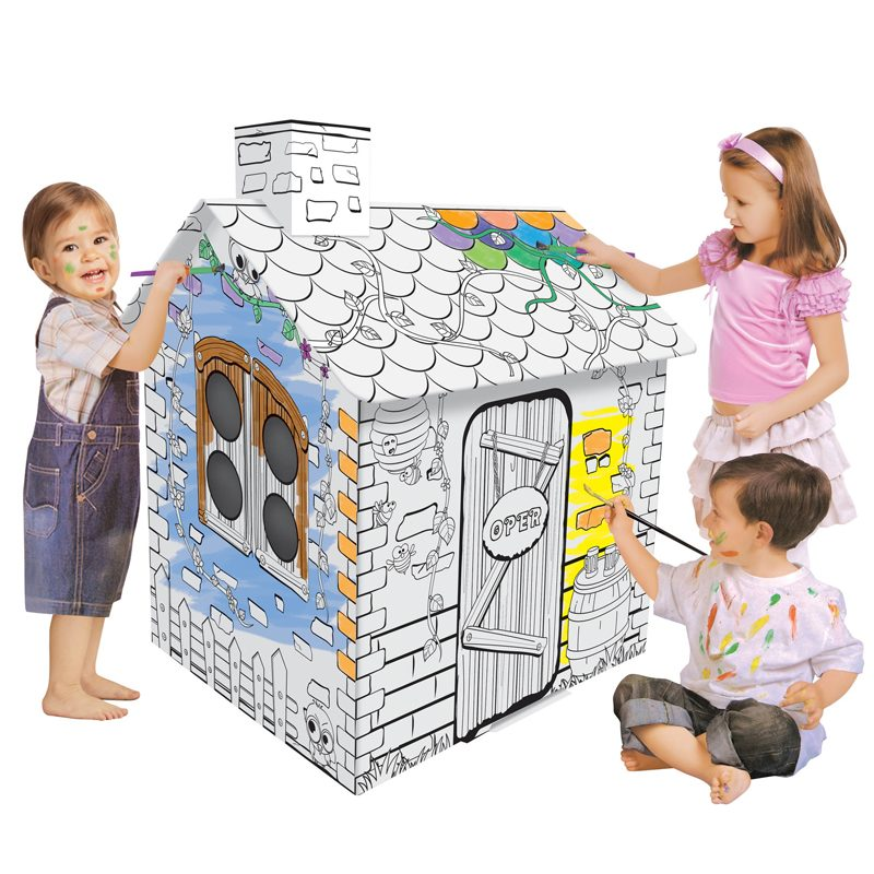 Kids Own Coloring Cardboard Playhouse, Cottage 3D DIY Painted Paper House