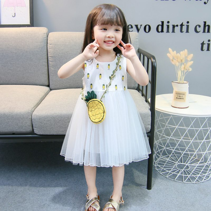 Baby Girls Summer Dress Sleeveless Dress Fair Lady Kids Clothes Pineapple