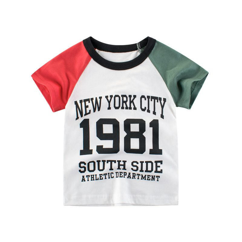 Boys T-shirt Summer Pure Cotton T-shirt with Colors Sleeves Moisture Wicking T-shirt